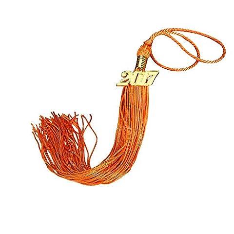 yicol 2017Neue Version Graduation Quaste 9Zoll mit Gold 2017Jahr Charme Orange