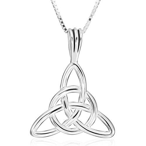MunkiMix 925 Plata Colgante Collar El Tono De Plata Nudo Celta Irlandesa Triquetra Amuleto,Plata Cadena 46cm