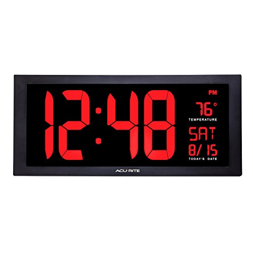 Acu-Rite AcuRite 75100 C große LED-Uhr mit Innen Temperatur, Plastik, schwarz, 18-Inch -