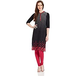 Aurelia Women's Straight Kurta (16AUK12770-61552_Black_Small)