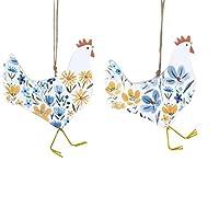 Decorazioni per albero di Pasqua luminose e fresche. Realizzati in legno e dipinti con il nostro popolare motivo country, questi due polli saranno una coppia perfetta per la vostra decorazione di Pasqua 12 cm x 10 cm.