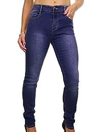 ICE (1522-1) Jeans en Denim Extensible Jambes Délavées Bleu Grande Taille