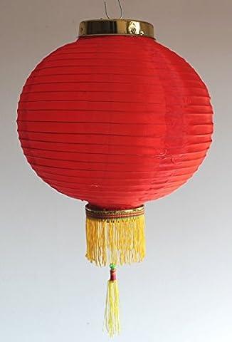 AAF Nommel ® Lampion 1 Stk. Nylonstoff rot rund Ø 30 cm, asiatisch traditionell, Nr. 130