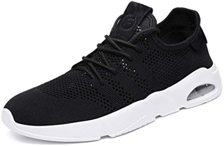 MISS&YG Hombres Air Cushion Sports Running Zapatos Casual Walking Sneakers Zapatos Para,Black,42