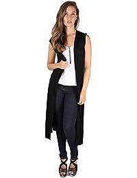 Fast Fashion - Plaine Front De Sans Manches Ouverte Cardigan Maxi Évasée - Femmes