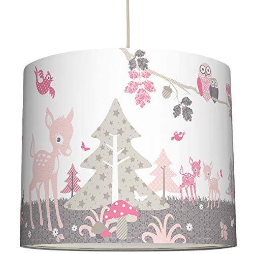 anna wand Hängelampe REHLEIN ROSA/TAUPE - Lampenschirm für Kinder/Baby Lampe mit Rehkitzen und Waldtieren - Sanftes Kinderzimmer Licht Mädchen & Junge - ø 40 x 34 cm -