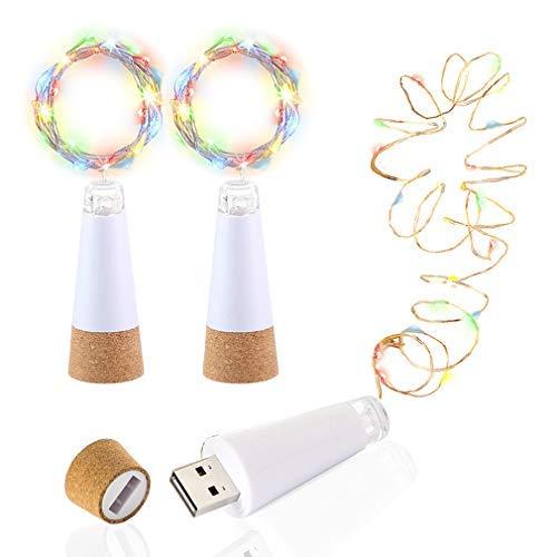 LED Flasche Beleuchtung Kork, Mehrfarbig Flimmern ändern, USB betrieben Wiederaufladbar,1,5 M 15 LED Kupferkabel String Licht Partei, Schlafzimmer, Weihnachten, Hochzeit Beleuchtung Deko(3 Stück) -
