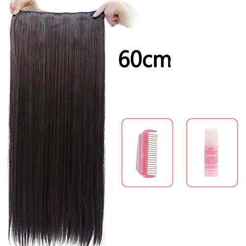 XFF Perruque Femelle Long Cheveux bouclés Grosse Vague Moelleux Naturel Cheveux Longs Cheveux raides Une pièce Net Rouge Mignon en Forme de u Perruque,g,60cm
