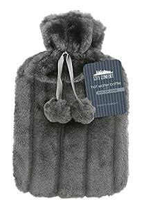 CityComfort Wärmflasche mit Super Soft Luxury Plüschbezug | 2 Liter Wärmflaschen | Britisches Design sicher und langlebig (Anthrazit)