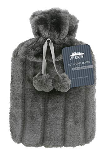 CityComfort Wärmflasche mit Super Soft Luxury Plüschbezug | 2 Liter Wärmflaschen | Britisches Design sicher und langlebig (Anthrazit) preisvergleich
