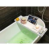 Luxus Bamboo Badewanne Caddy Badewanne Wanne mit ausziehbaren Seiten Built in Tablet Tablet Halter Handy Tray & integrierte Weinglas Halter und andere Zubehör Platzierung