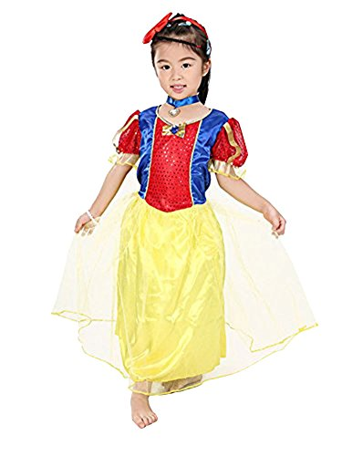 MissFox Halloween Kinder Fantastisch Märchen Schneien Weiße Kostüm 4-6 - Fantastisches 4 Kostüm