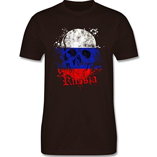 EM 2016 - Frankreich - Russia Schädel Vintage - Herren Premium T-Shirt Braun