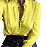 JURTEE Sommer Einfarbig Damen Oberteile Beiläufig Solide Langarm Druckknopf Bluse Revers Hemd Tief V-Ausschnitt Tops(X-Large,Gelb)