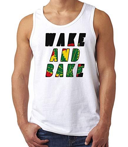 Herren Wake and Bake Smoker's Slogan Muskelshirt Tank Top T-Shirt Weiß M -