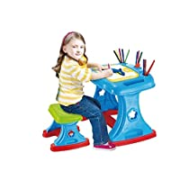 Table and Desk with a board for writing and painting, educational toy for children to teach painting, Multi Color