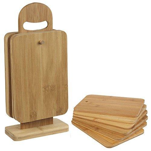 Top Home Solutions 7 piezas Tabla Picar Bamboo Juego CORTE CORTAR CON SOPORTE de Exhibición hortofrutícola