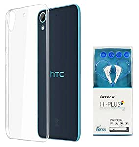 D'clair Premium Transparent Case Cover With HITECH Hi-plus H35 In Ear Wired Earphones With Mic Blue for HTC Desire 626