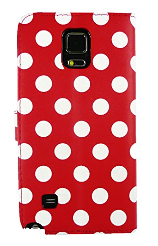Emartbuy Premium PU Leather Wallet / Flip Case Cover Red / White Polka For Samsung Galaxy Note 4  available at amazon for Rs.250