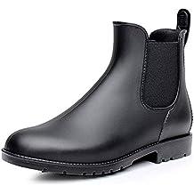 Stivali Gomma Donna Ragazza Chelsea Pioggia Bassi Lavoro Giardino Stivaletti  Antiscivolo Wellington Ankle Boots Nero Marrone