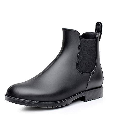 Bottes Pluie Chelsea Femme Homme Caoutchouc Jardin Bottines Wellington Boots Imperméables Noir 43