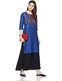 Myx Women's Straight Cotton Kurta (SS18GFT-004_Blue_S)