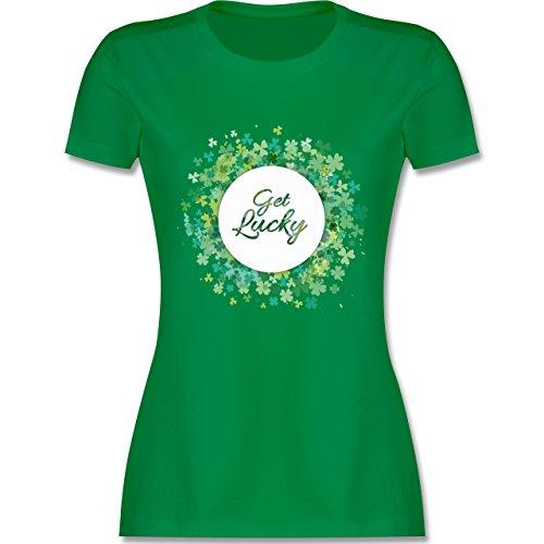 Festival - Get lucky Kleeblatt Glück St. Patrick's Day - S - Grün - L191 - Damen T-Shirt (Mädchen St Day Patricks)