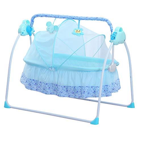 SANPLO Elektrische Wiege Babyschaukel Bett Automatische Schaukel Kinderbett Korb Stubenwagen Neugeborenen Rocker Babybett (Blau)