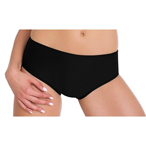 Aquarti Bikini-Hose Damen Hipster-Shorts Badehose Hüftpanty Schwarz Rot Blau Dunkelblau, Farbe: Schwarz, Größe: 42