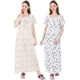SDGP Cotton Nighty & Night Wear Multicolour Gree Size, Combo Pack (Pack of 2)