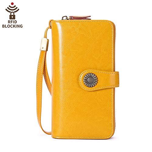 RFID Blocking Bifold Frauen Rindsleder Große Kapazität Brieftasche Multi Kartenhalter Organizer Telefon Geldbörse Gelb - Gelbe Flache Geldbörse