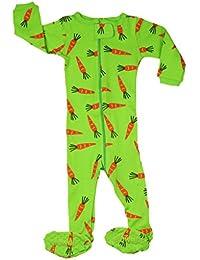 "Elowel ninas ""Conejo Zanahoria'' Pijama con pies 100% algodon (6M a 5 Anos)"