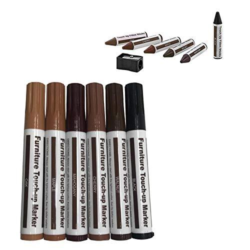 lennonsi 6 pcs Holzmaserung Farbreparaturmarker Papier umwickelt Wachs-Sticks Reparaturstifte Set für zerkratzte Holzböden, Möbel, Tische. -