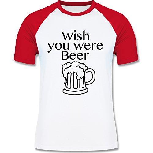 Shirtracer Oktoberfest Herren - Wish You Were Beer Bierkrug - Herren Baseball Shirt Weiß/Rot