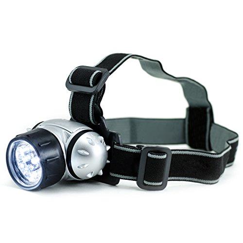 CSL - 9er LED Stirnlampe / Kopflampe / Stirnleuchte inkl. Trageschlaufe   Headlight   sehr helle und robuste 9x LEDs   4x Leuchtstufen   120° vertikal schwenkbar   hoher Tragekomfort   universell einsetzbar   silber