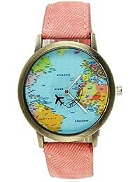 f5a67a05a3bf Moda mujeres hombres vintage tierra mundo mapa Reloj Denim Tela Muñeca  relojes rosa