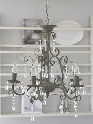 Kronleuchter SHABBY CHIC 5-armig antik GRAU metall Lüster Deckenleuchte Deckenlampe Hängelampe vintage
