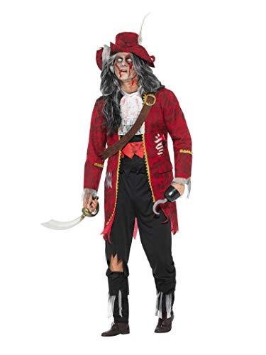 Smiffys Herren Deluxe Zombie Piraten Kapitän Kostüm, Jacke mit angebrachten Latex Rippen, Hose, Stiefel Überzieher, Oberteil, Hut, Haken und Gürtel, Größe: M, 46866