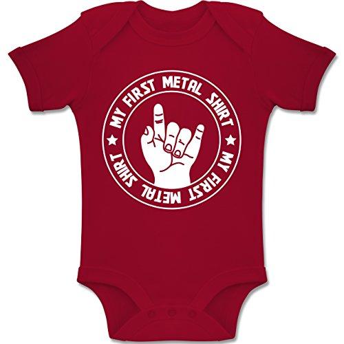 Strampler Motive - My First Metal Shirt - 3-6 Monate - Rot - BZ10 - Baby Body Kurzarm Jungen Mädchen (Rot Body-shirt)