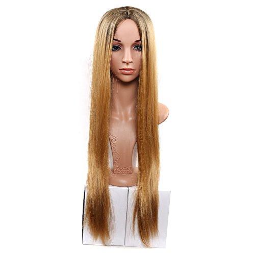Royalvirgin Ombre zwei Ton synthetische braune Haar-Perücken natürliche preiswerte lange gerade Hitze-beständige silberne Perücken für schwarze Frauen-goldene (Silberne Perücke Lange)