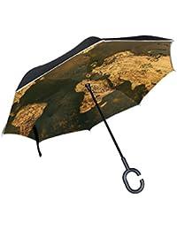 Mnsruu Paraguas invertido de Doble Capa con Mapa del Mundo Antiguo, Paraguas Plegable Resistente al