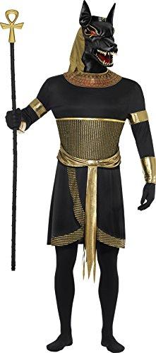 Kostüm Halloween Pharao - Smiffys, Herren Anubis der Schakal Kostüm, Tunika mit Halskragen, Armbänder, Armmanschetten und Maske, Größe: L, 40096