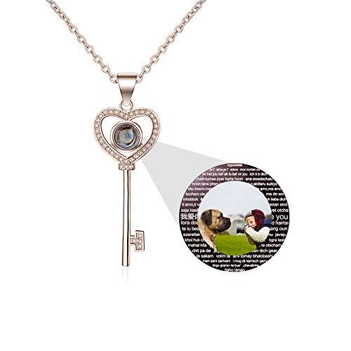 hjsadgasd Personalisierte Herz Liebe Dich Halskette für Frauen Projektion Halskette Ich Liebe Dich in 100 verschiedenen Sprachen Choker Anhänger Halskette Geschenk für Sie -