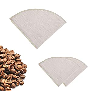 Earthtopia 3 Pack Reusable Cloth Coffee Filters | 100% Hemp | Eco-Friendly Pour Over Coffee Filter Bags | Permanent Filters