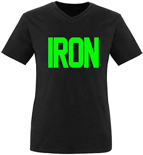 EZYshirt® Iron Herren V-Neck T-Shirt Schwarz/Neongrün