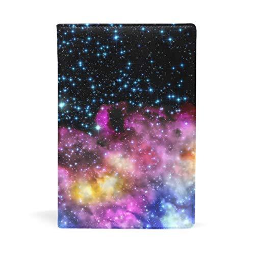 EZIOLY Space Galaxy Nebula Starry dehnbarer Buchumschlag passend für die meisten Hardcover-Lehrbücher bis 22,6 x 14,5 cm, klebstofffreier Stoff Schulbuchschutz Einfach anzubringen. Wash & Re-Use