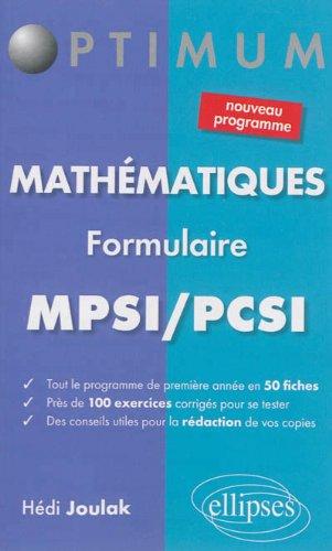 Mathmatiques Formulaire MPSI/PCSI Nouveau Programme