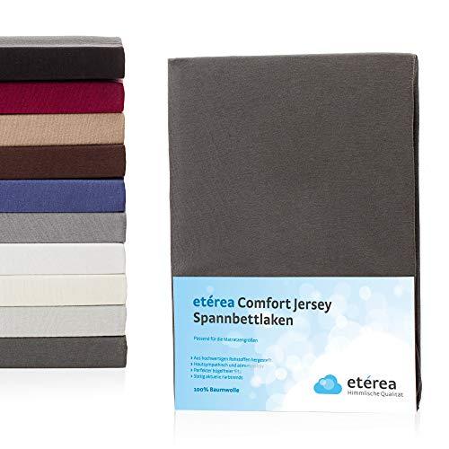 Etérea Jersey Topper Spannbettlaken- Serie Comfort -100% Baumwolle Spannbetttuch, 180x190-200x200 cm Anthrazit
