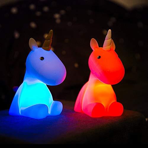 LED Nachtlicht Einhorn mit Farbwechsel (Weiß/Lila) und 15min -