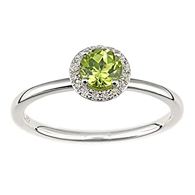 Naava 9 ct White Gold Diamond and Peridot Cluster Ring